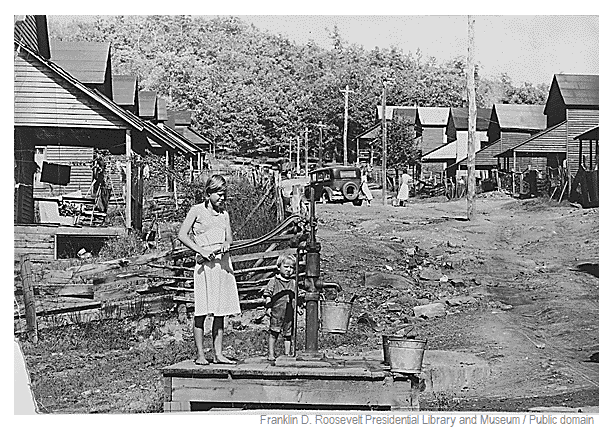 Photo of US History: Pumping water by hand in 1942 from the sole water supply in this section of Wilder, TN