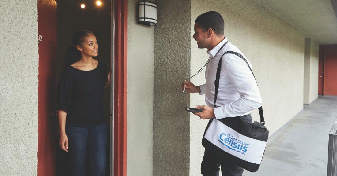 U.S. Census worker goes door to door
