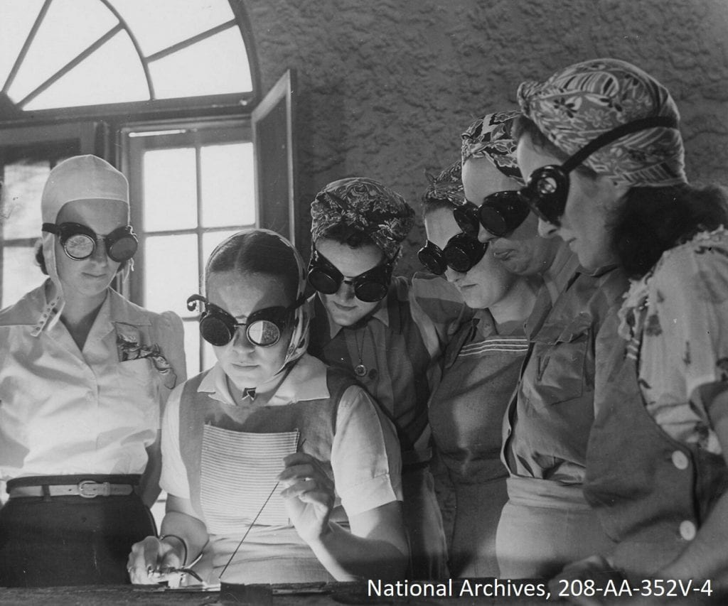 Secretaries, housewives, waitresses, women from central Florida in vocational schools to learn war work, April 1942