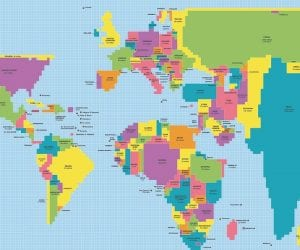 Cropped World Population Map is a cartogram displaying countries' sizes based on population rather than land area