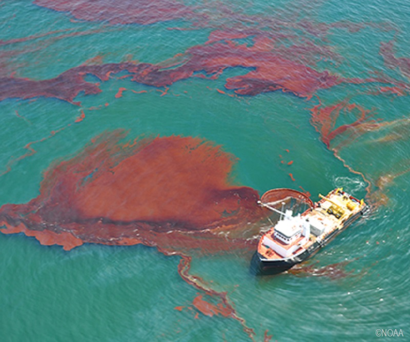 "A ""vessel of opportunity"" skims oil spilled after the Deepwater Horizon/BP well blowout in the Gulf of Mexico in April 2010."
