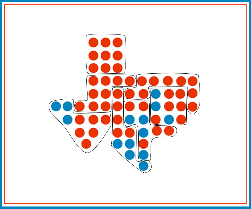 "Students gerrymander a map of Texas using the ""cracking"" method"