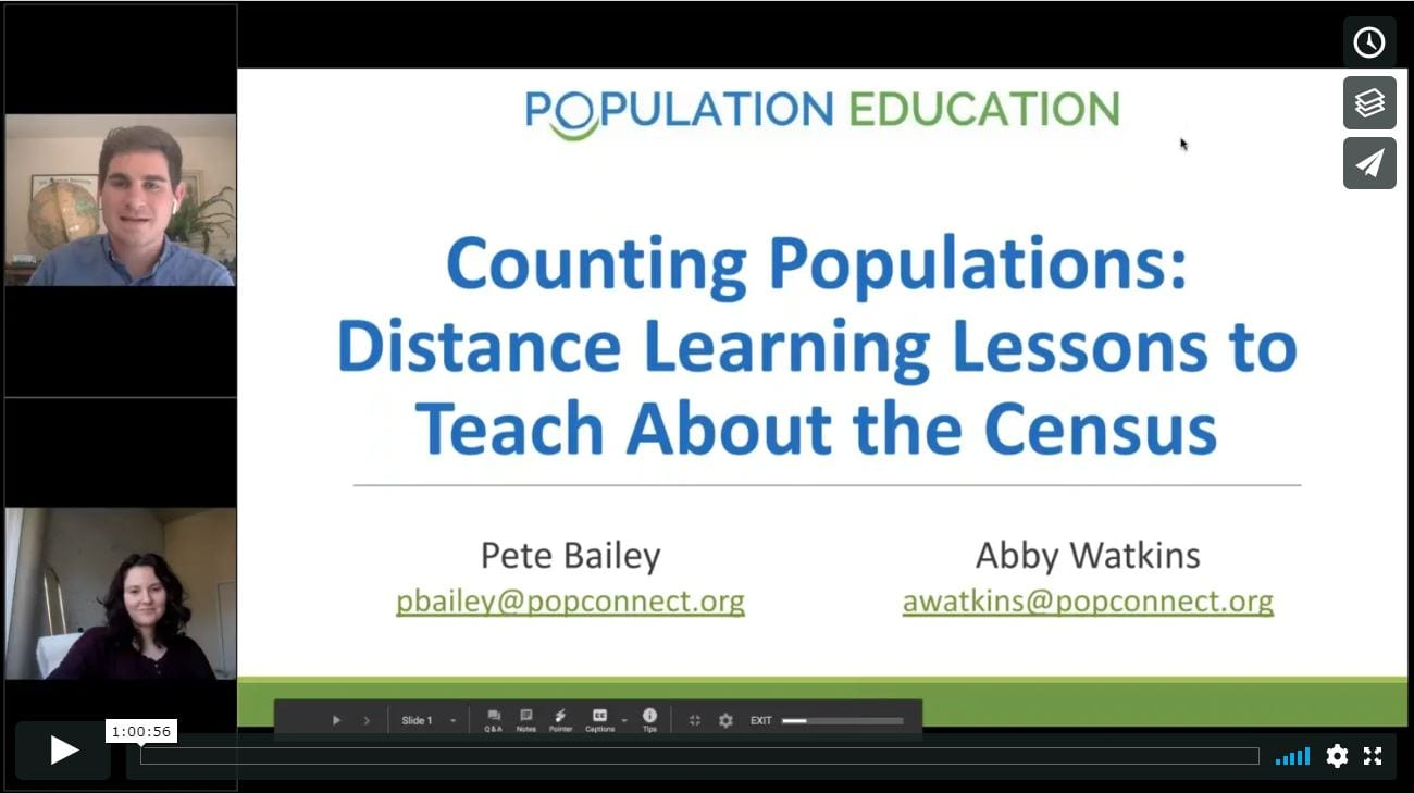 Screenshot from the free teacher webinar on distance learning for the census