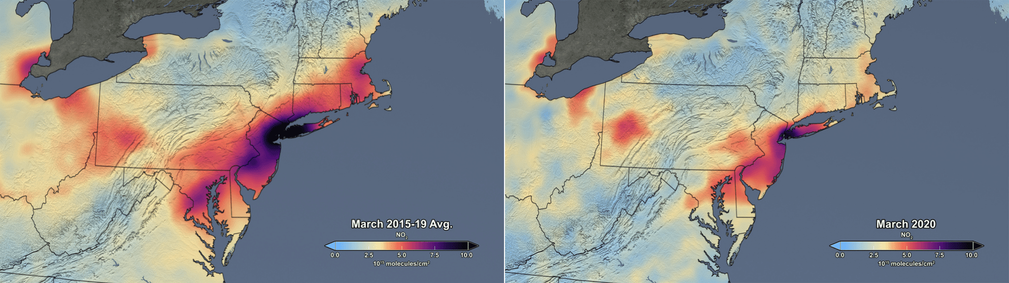 NASA heat maps of tropospheric NO2 column: Average for March 2015-2019 and March 2020