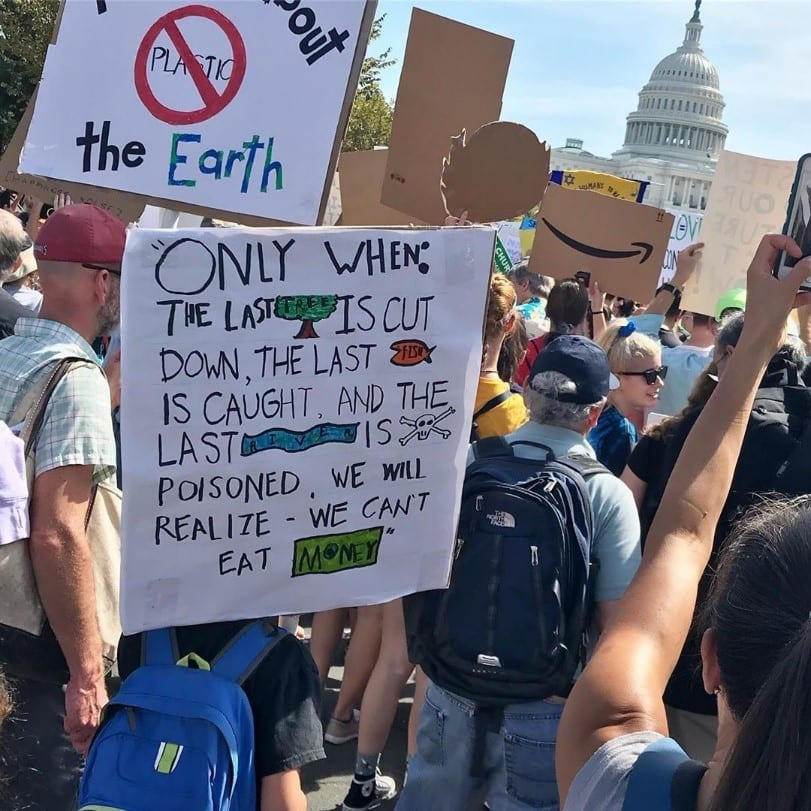 Signs at Youth Climate Strike in Washington D.C.