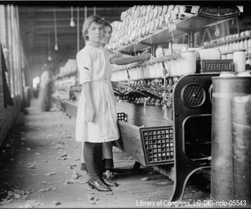 12-year-old girl working at spooling in a West Texas cotton mill in 1913