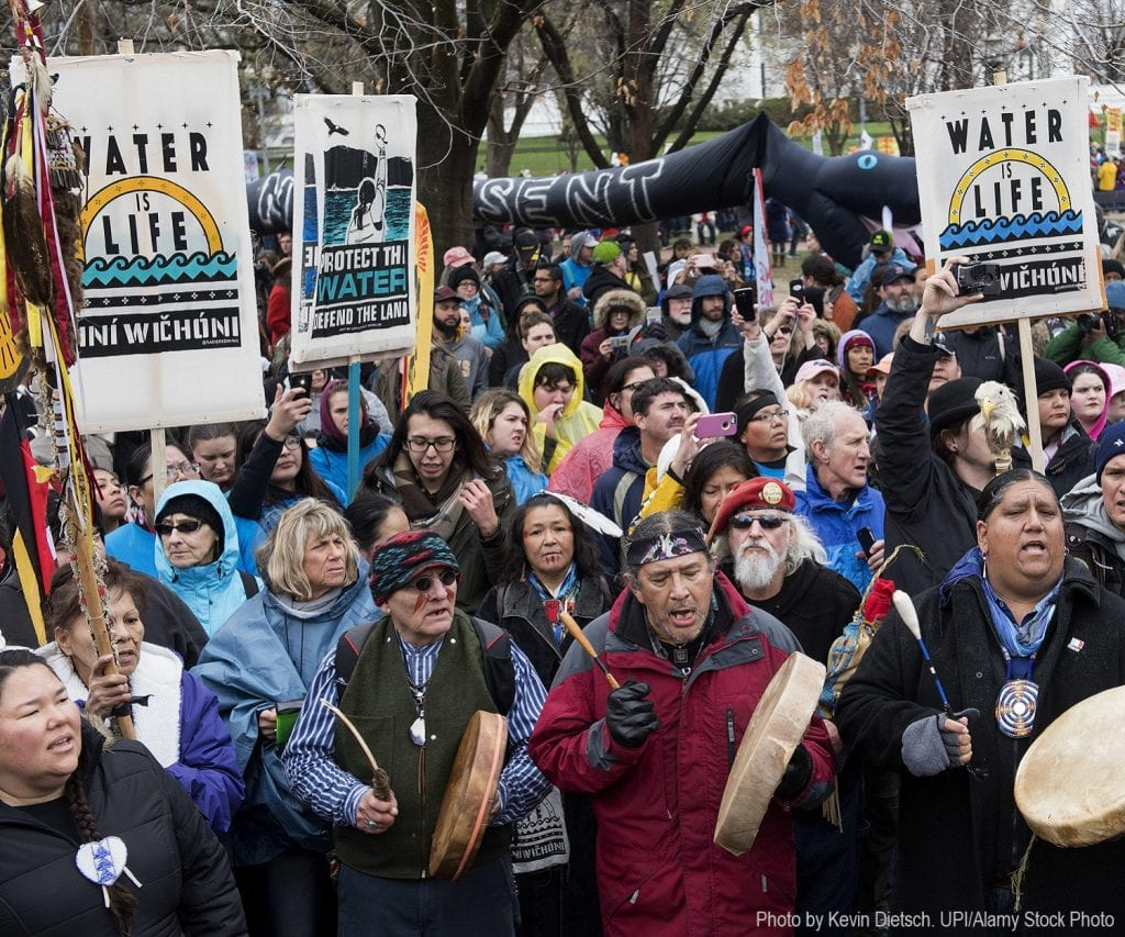 Members of the Standing Rock Sioux Tribe, indigos right advocates and environmental activist participate in a protest against the Dakota Access Pipeline in Washington, D.C., 2017