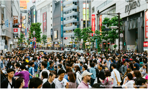 Densely crowded city street
