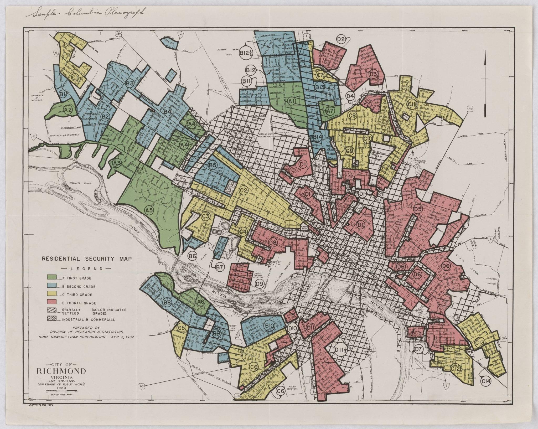 Redlined map of Richmond, VA