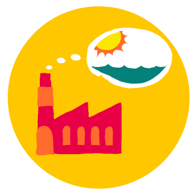 logo showing factory emitting thought bubble with ocean and sun inside