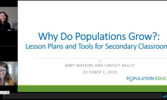 Screenshot of title page from Why Do Populations Grow webinar