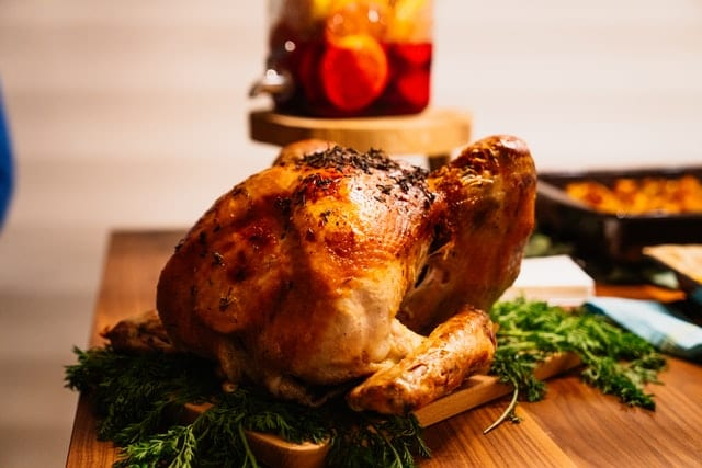 Baked turkey on dining table
