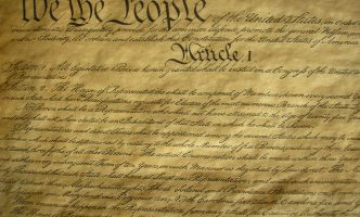 Close up view of the United States Constitution
