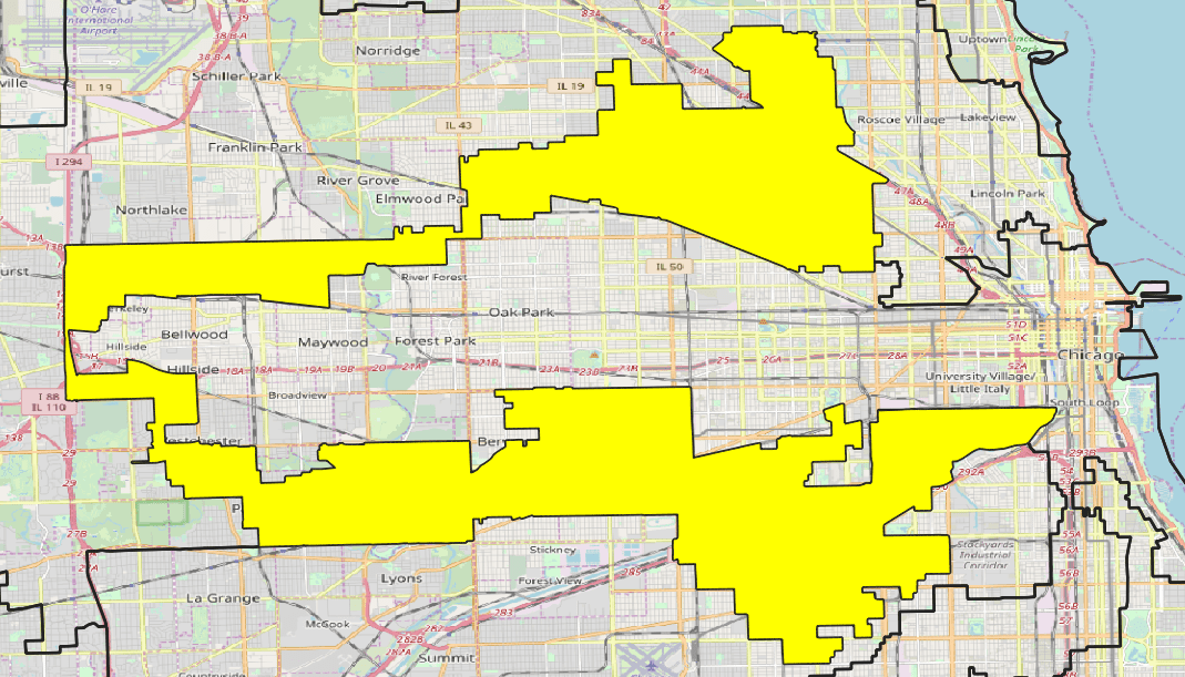 "Map showing the 4th congressional district of Illinois, commonly known as ""the earmuffs"""
