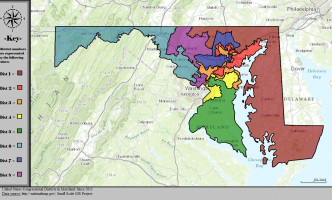 Map showing Maryland's congressional districts 2013-2020