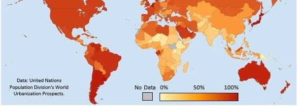 Choropleth map showing global urbanization rates with an orange gradient