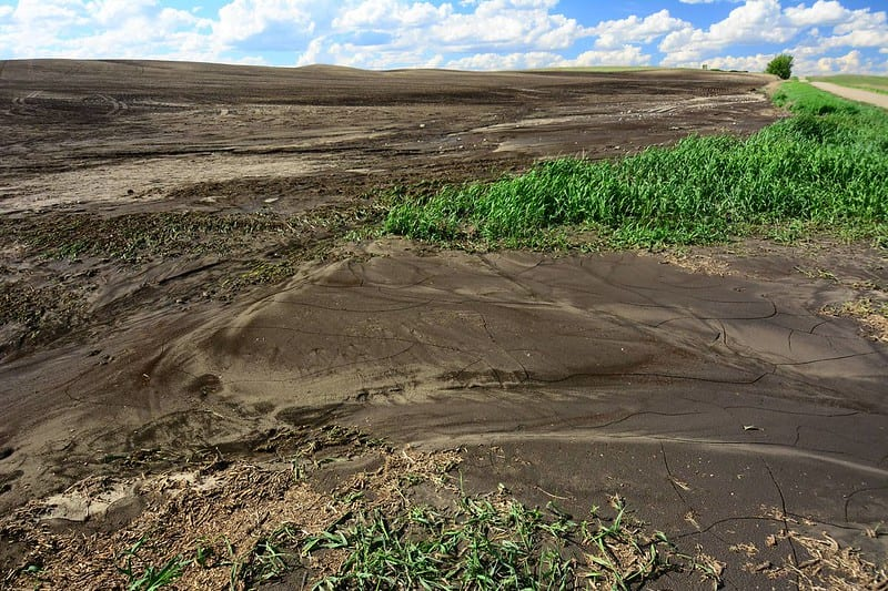 Native prairie ground after plowing and erosion