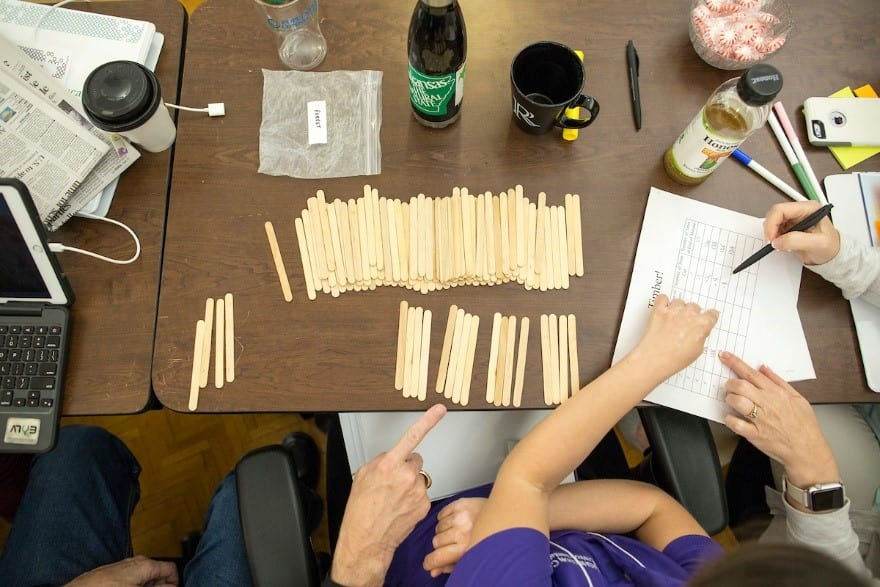 Popsicle sticks represent trees being cut in a forest in the modeling lesson plan Timber!