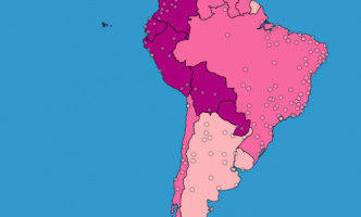 Layered map of South and Central America showing country-level fertility rates and population density