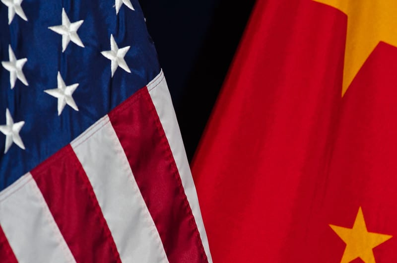 Close up view of flags for the United States and China