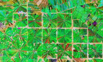 Satellite image of Santa Cruz, Bolivia, where part of the tropical dry forest has been cleared for agricultural use.