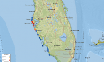 Screenshot from interactive forecasting tool, showing modeled forecast of respiratory irritation at individual beach locations in Florida